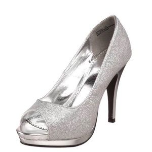 Sparkly silver peep too heel